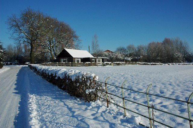 Earl's Croome Village Hall in snow