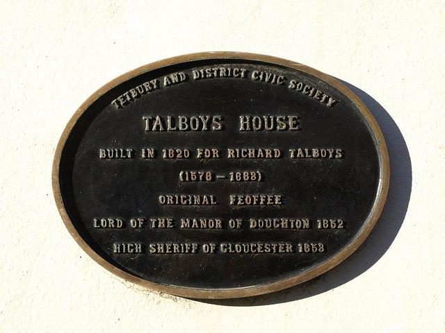 Plaque, Talboys House, Tetbury