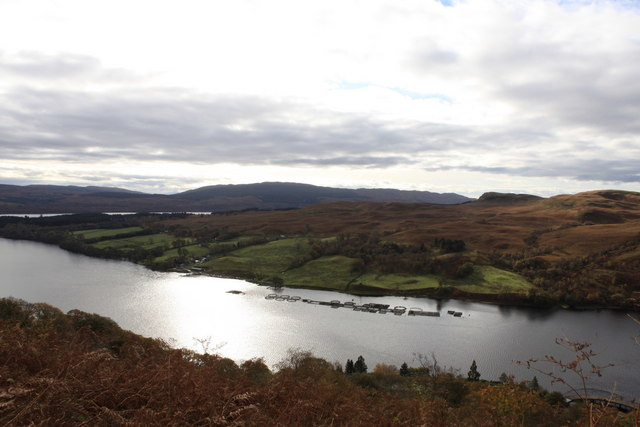 View over Loch from the approach path to Ben Cruachan