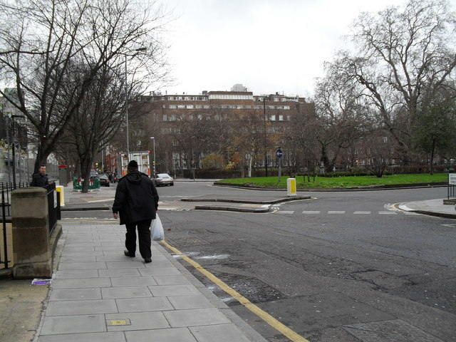 Approaching the junction of Greville Street and Tavistock Place