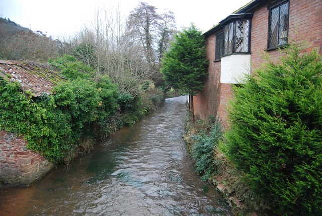 The stream in Allerford seen from the packhorse bridge