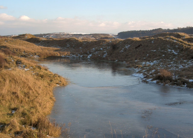 Frozen pool at Merthyr Mawr Warren