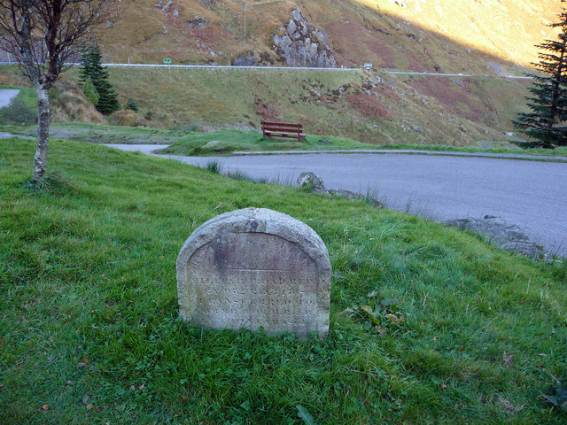 Commemorative stone at Rest And Be Thankful