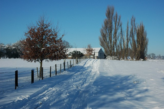 Snow covered land in Earl's Croome
