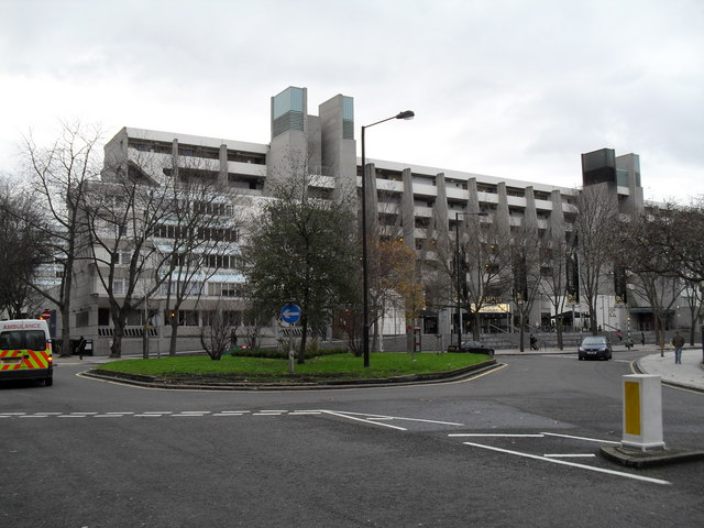 Looking from International Hall across a roundabout towards the Brunswick Centre