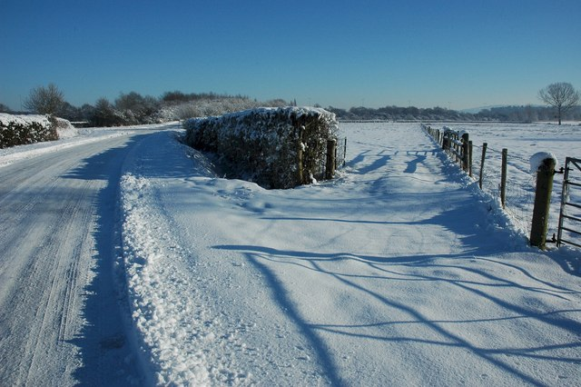 Snow covered land, Earl's Croome