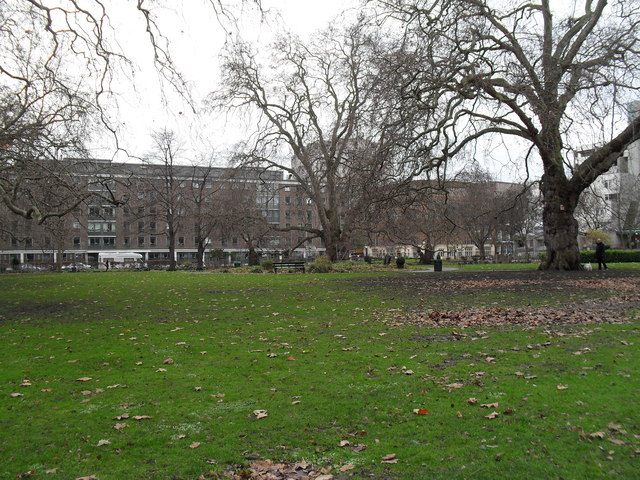 Looking across Brunswick Square Gardens towards International Hall
