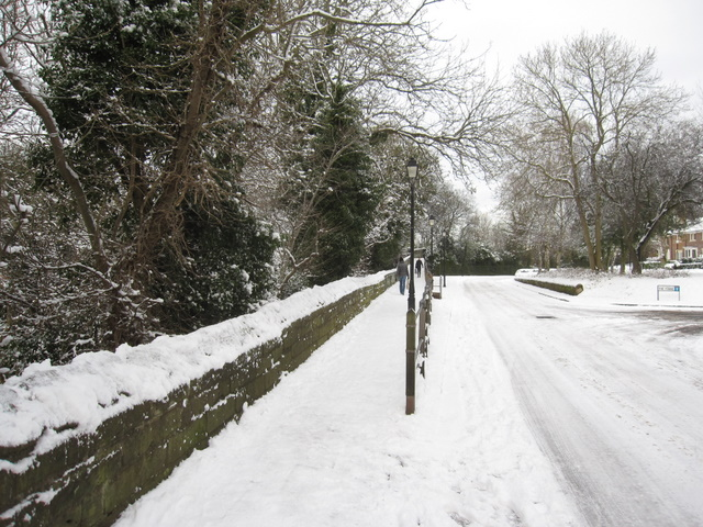 City walls and City Walls Road in the snow
