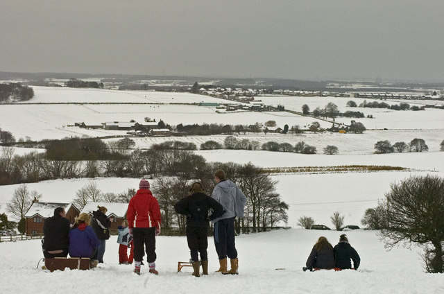 Sledging above Red Barn Lane