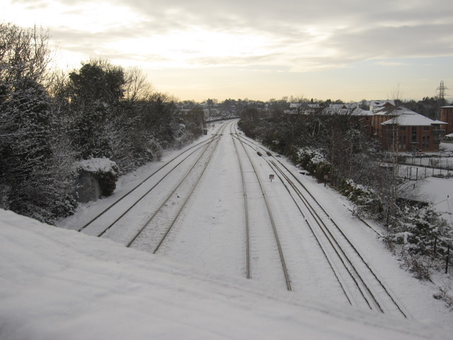 The North Wales railway line from the city walls