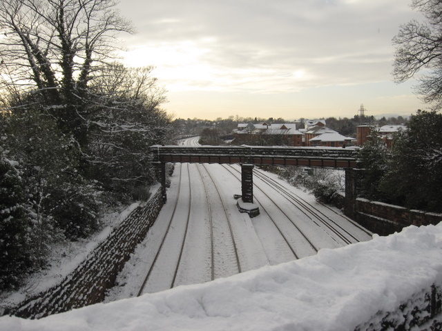 North Wales railway line through the city walls