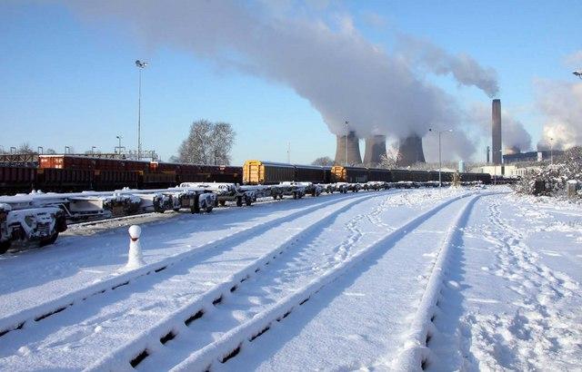 Snow in Didcot rail yard