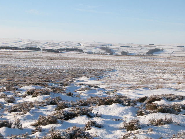 Snowy panorama from the Foumart Hills (12: WSW - The Allendale lead smelting flue chimneys)