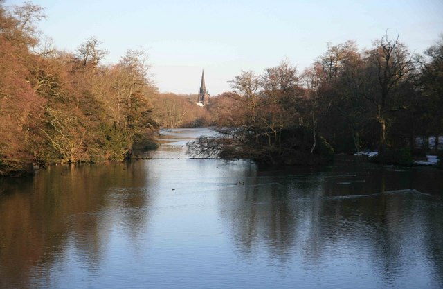 Clumber lake from the bridge with the chapel in the distance