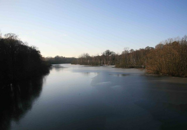 A cold Clumber lake from the road bridge