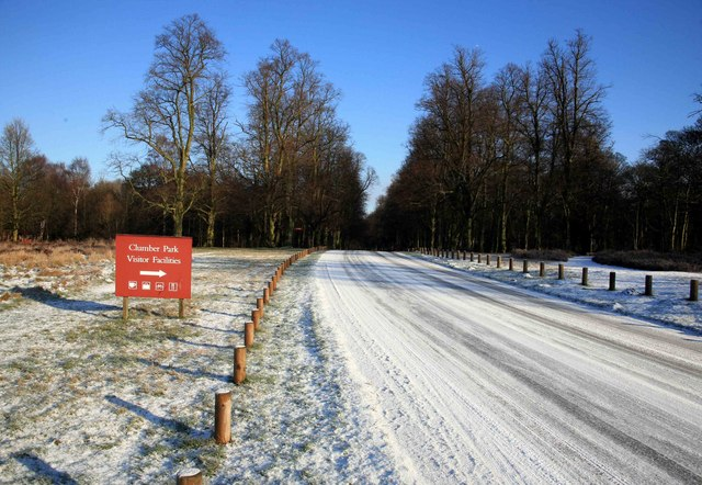 Red sign stands out in the snow Clumber park