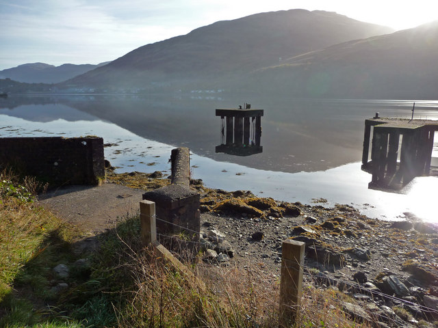 Concrete mooring structures on Loch Long