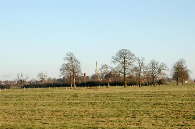 View across ridge and furrow to Braunston church