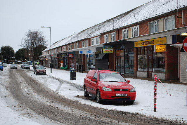 Thorpe Bay shops in the snow