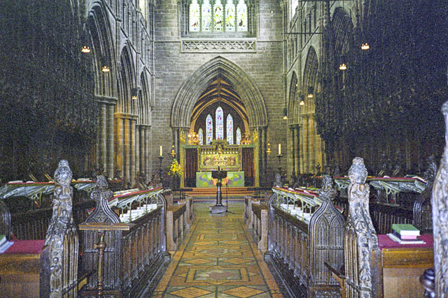 Inside Chester Cathedral, looking east