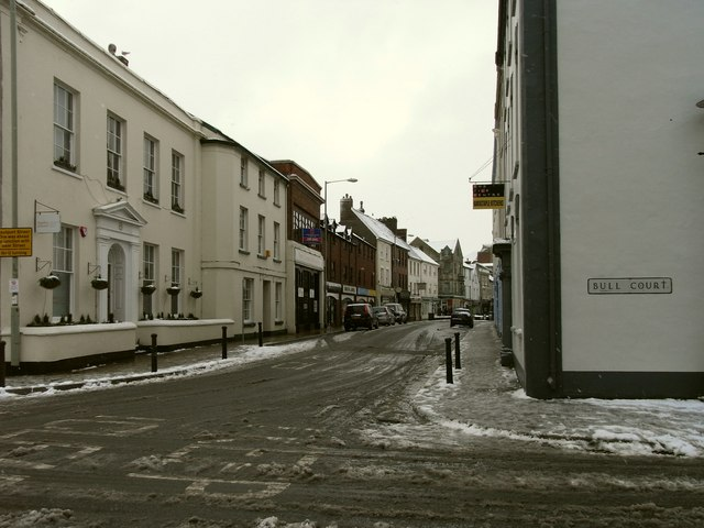 Boutport Street at the junction with Bull Court and Vicarage Street