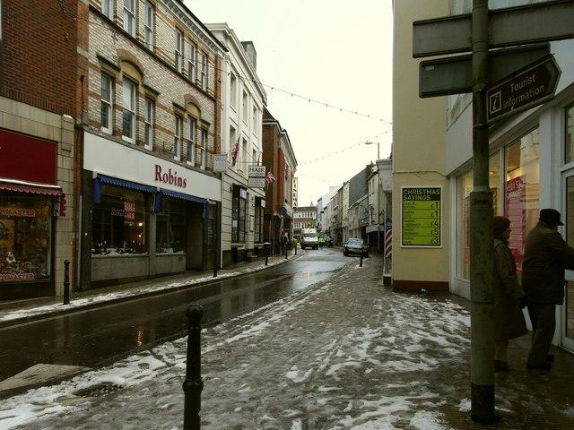 Boutport Street looking towards the junction with Queen Street