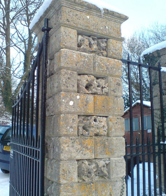 Coade stone inserts to the gate posts at Newark Park