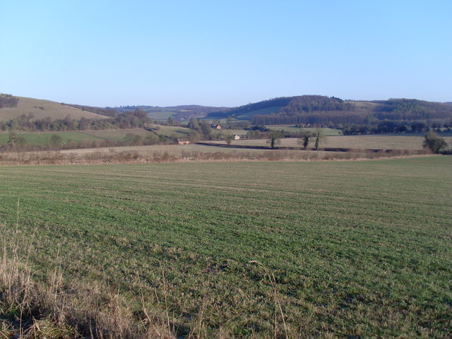 View across the Chilterns from above Turville village
