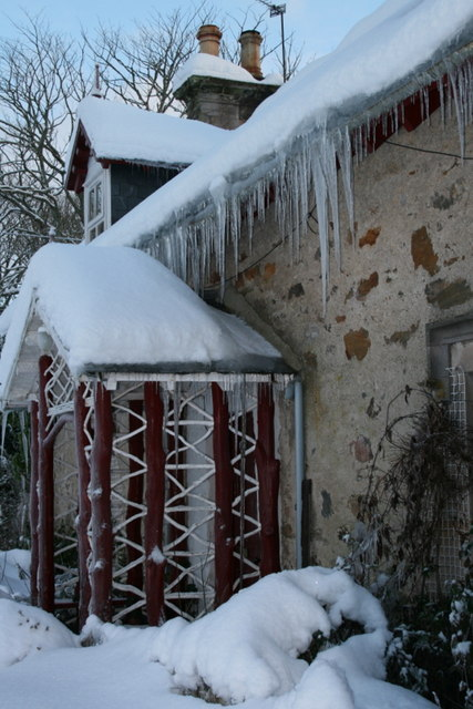 Icicles and snow at the 'keeper's cottage