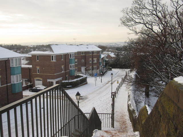 City Walls Road in the snow from St Martin's Gate
