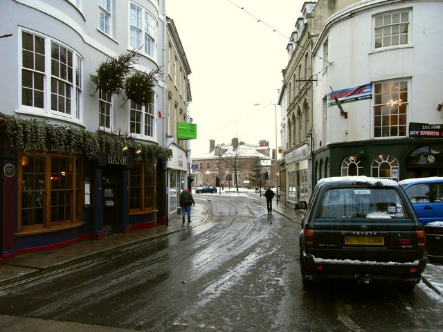 The end of Boutport Street leading towards The Square
