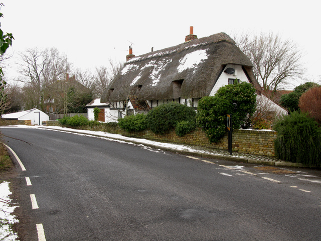 Honeypot Cottage in the snow, Marshborough Road