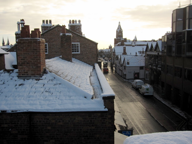 Snowy roofs in Northgate Street