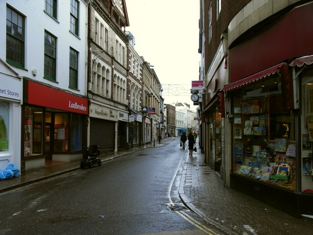 The High Street leading away from Boutport Street