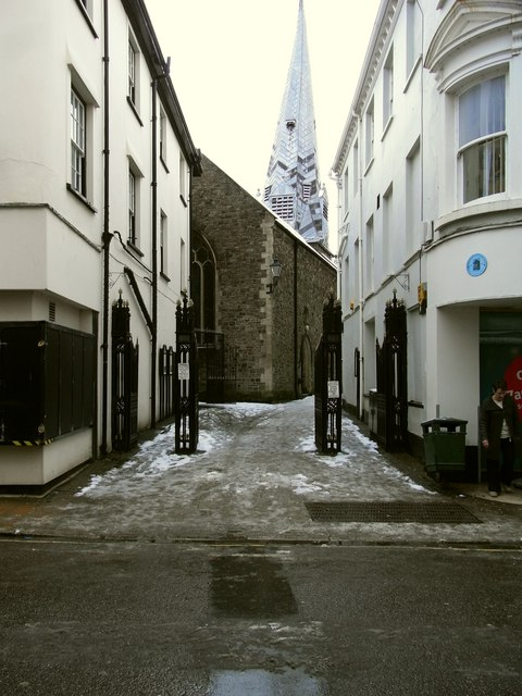 Paternoster Row leading away from the High Street towards St. Peters Church