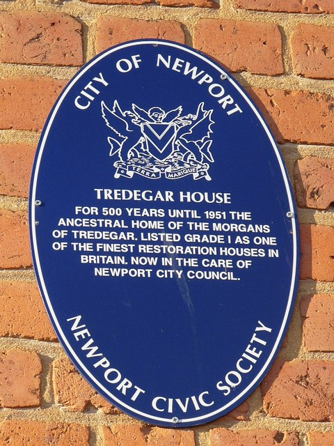 Blue plaque, Tredegar House, Newport