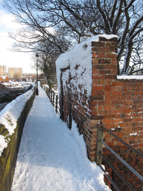 Blocked doorway on the city walls in the snow