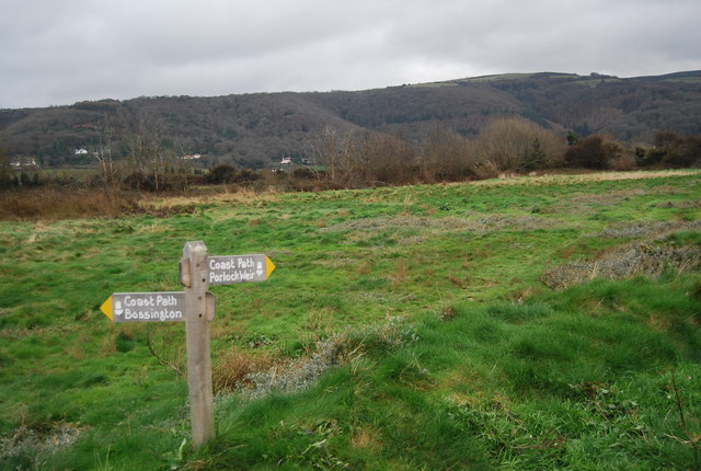 South West Coast Path Signpost, end of Sparkhayes Lane