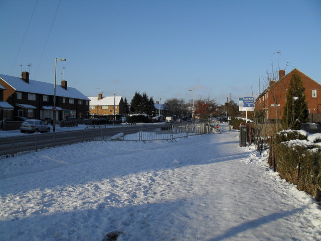 Snowy pavement in Purbrook Way