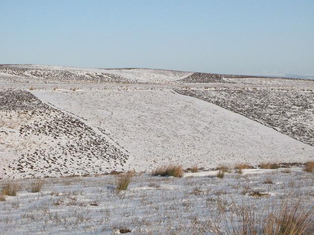Snowy moorland below Great Lawsley