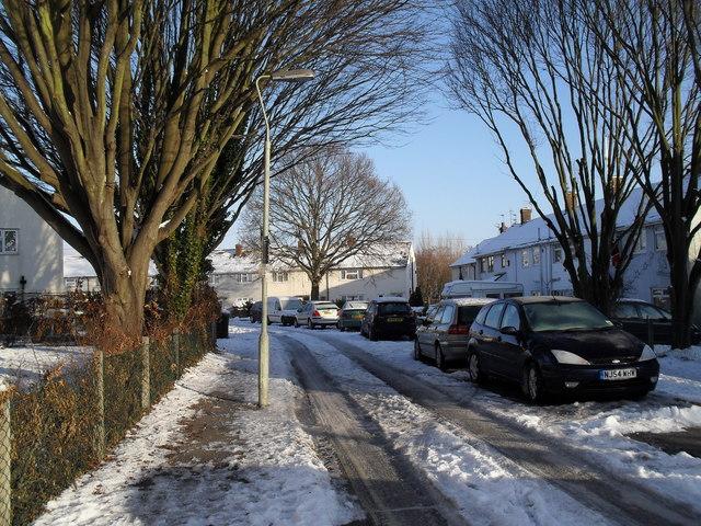 Lamppost in a snowy Finchdean Road