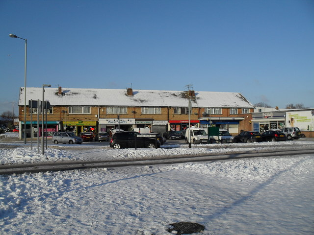 Snowy shops at the bottom of Middle Park Way