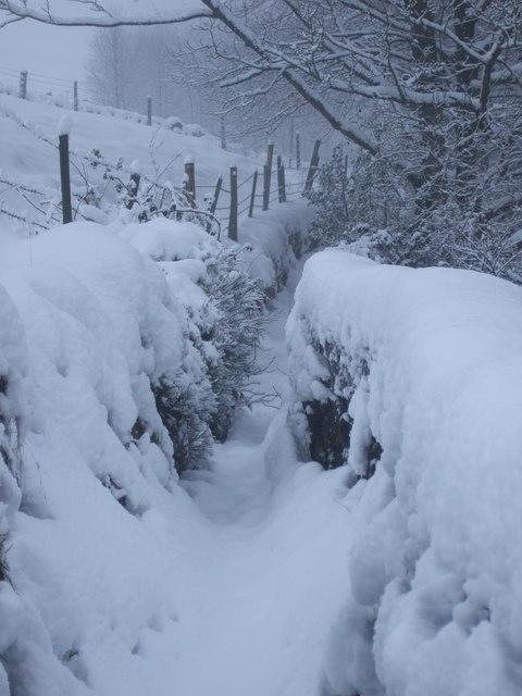 Footpath to Clough House, Slaithwaite on Christmas Eve 2009