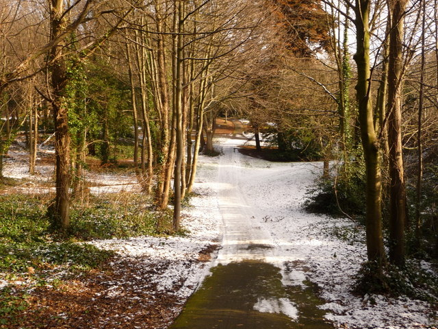 Bournemouth: heading into Horseshoe Common after snow