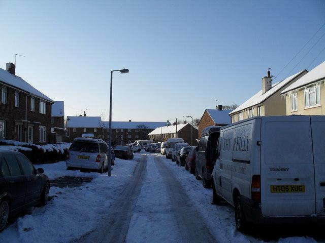Lamppost in an icy Ellisfield Road