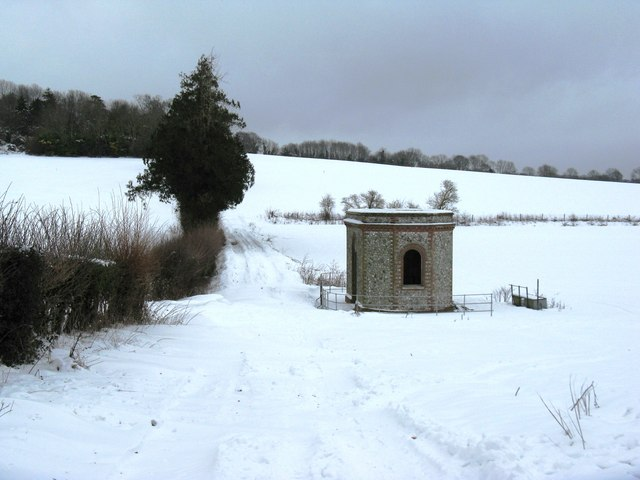 Pump house partially restored by footpath to Inground Plantation