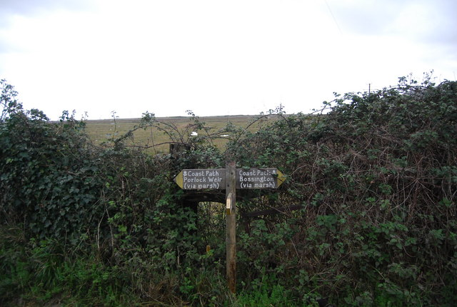 Footpath signpost on the South west Coast Path