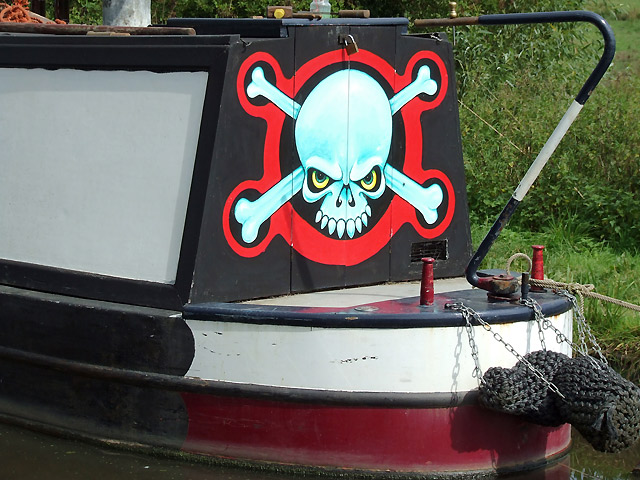 Decoratively painted narrowboat - non traditional