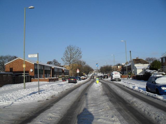 Looking northwards up a snowy Dunsbury Way