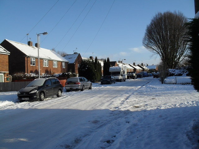 Snow covered homes in High Lawn Way